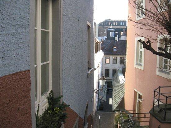 Rathausglöckel: vue sur Baden depuis la rue de l'hôtel
