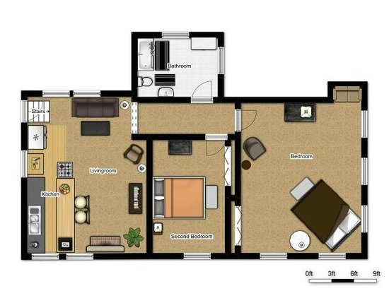 Kara's Kottages: Floor Plan for Drift Wood Kottage