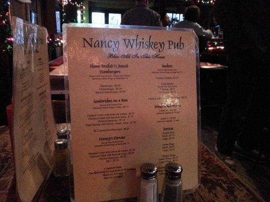 Nancy Whiskey Pub: Meny