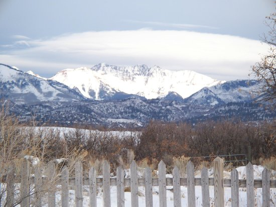 Blue Lake Ranch: La Plata mountains from dining room table.