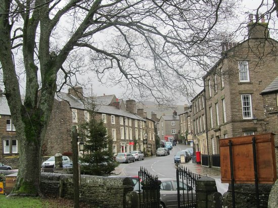Looking up the village from the church, with The Kings Arms on the left