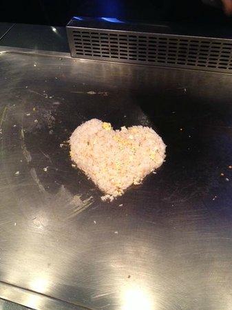 Yamato Sushi and Teppan-Yaki Restaurant: Heart-shaped fried rice! :-)