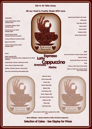 Espresso Yourself Coffee Bar: The menu