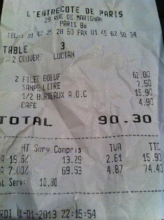 L' Entrecote de Paris : café a euro 4,90!?