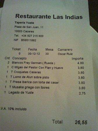 Restaurante Tapería Yuste: Cuenta
