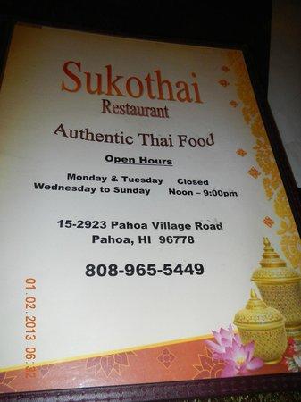 Sukothai Restaurant: menu