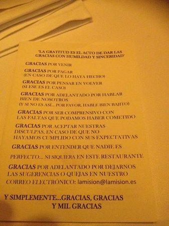 Restaurante La Misión: Agradecimientos del Restaurante
