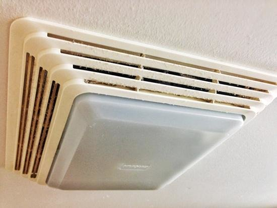 Quality Inn Woodside : bathroom ceiling fan: as with most (budget) hotels is of the neglected kind and could use some s