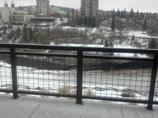 View Of Downtown Spokaneand Spokane River From Our Table At