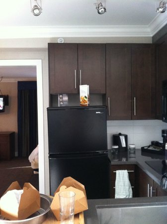Sandman Signature Edmonton South Hotel: look at how the fridge sits unlevel, however the ceiling is also crooked hiding it.