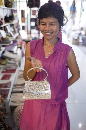 The Family Tree : A stunning sterling silver clutch bag, modelled by the ever-smiling owner Dtor