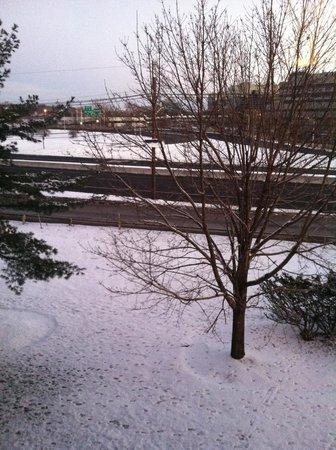 Hampton Inn Ridgefield Park: snow right outside the hotel