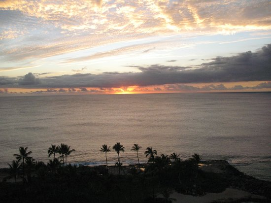 A beautiful sunset viewed from our room at the Marriott Ko Olina Beach Club