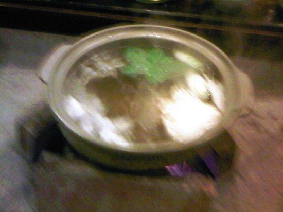 Ryokan Murayama: shabu shabu bubbling over hot coals