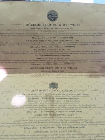 Bread and Wine: Sample of the menu