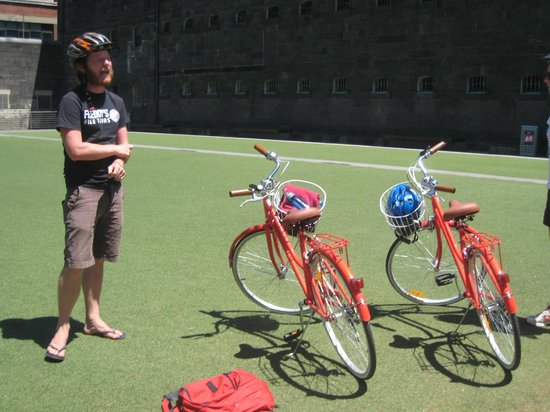 Freddy's Bike Tours: Freddy, his bikes at prison talking about Ned Kelly