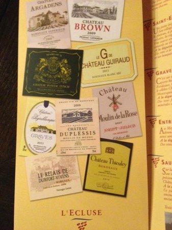 L'Ecluse Madeleine : carte des vins