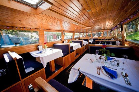 Canal Boat Cruises: Romance Restaurant Boat Interior