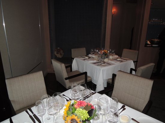 tables for the private party at L'Espalier