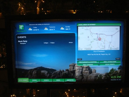 Holiday Inn Rapid City - Rushmore Plaza: Digital touch screen display at the lobby