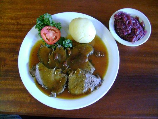 Haus Heidelberg German Restaurant : Sauerbraten with Dumpling and Red Cabbage