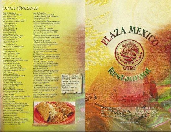 Menu Picture Of Plaza Mexico Restaurant Fallston
