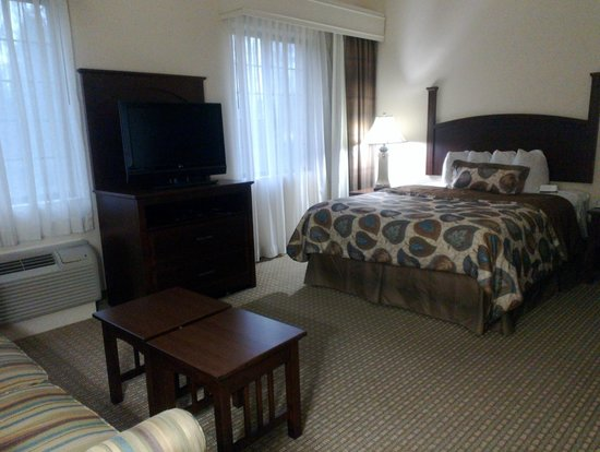 Staybridge Suites Durham-Chapel Hill-RTP: View from the desk towards the bed/ sleeping area.