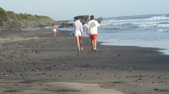 Villa Babar: plage de sable noir