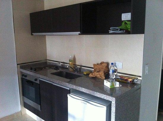 Miliño Buenos Aires Apart Hotel: Cozinha completa com forno e fogão de 2 bocas elétricos.