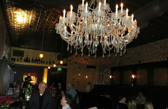 POP champagne and dessert bar : Bar and chandelier