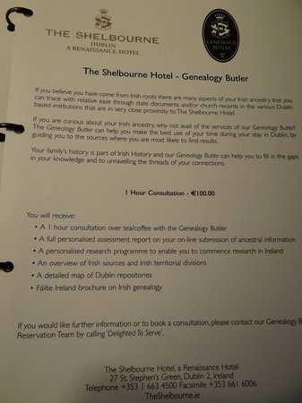 The Shelbourne Dublin, A Renaissance Hotel: Genealogy Butler