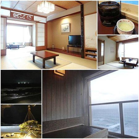 Heiseikan Shiosaitei: Our room with private Japanese cypress hot spring tub