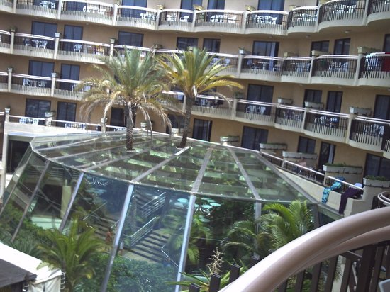 Dream Hotel Noelia Sur: view from our room overlooking glass area over indoor steps leading down from reception to pool