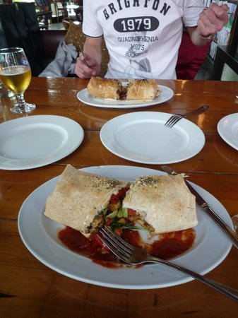 Turkish Cafe : Lamb and chicken kebab, lots of veggies inside!