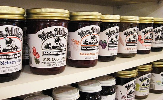 Cafe Batar: Shop Batar features many of Mrs. Miller's jams and jellies unusual flavors like Dandelion and Bu