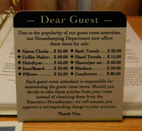 BEST WESTERN Country Squire: Don't steal a towel!
