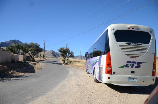 Our Lady of the Sierras Shrine: Mexican tour bus with Mexicans come for regular pilgrimages.