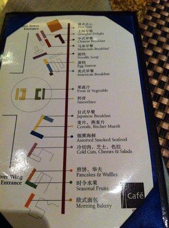 Pudong Shangri-La, East Shanghai: Plan für die Auswahl der verschiedenen Frühstücksstationen aus aller Welt