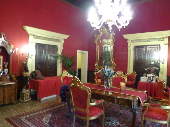 "Palazzo Paruta ""Red Lounge"" where afternoon tea is served"
