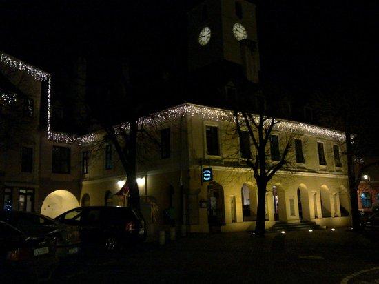 The Council : Hotel facade at night