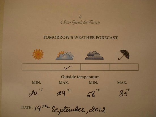 The Oberoi Udaivilas: Weather update