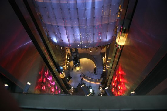 Looking down to the dining area from lift