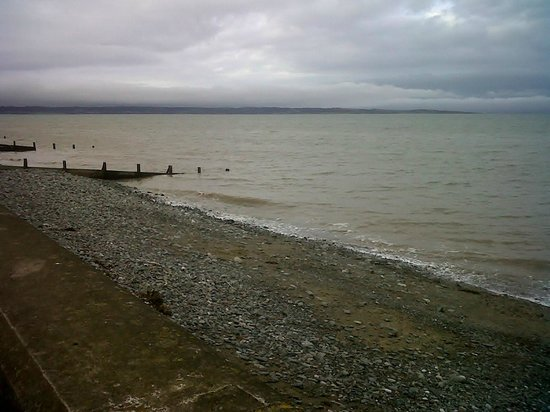 Llanfairfechan Beach at high tide (looking towards Anglesey)