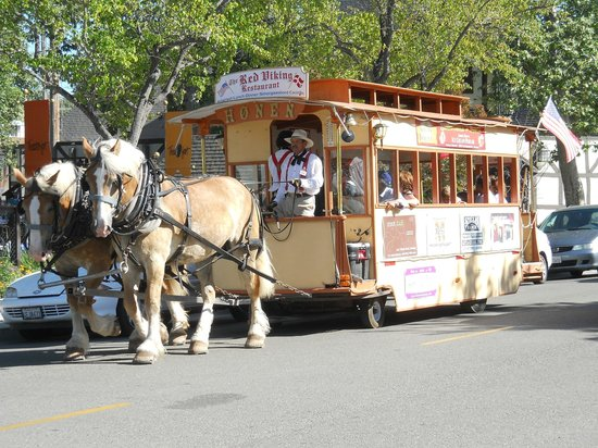Solvang Trolley & Carriage : The trolley on a tour on a bright summer day