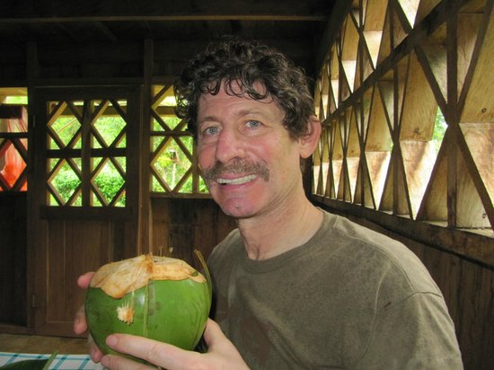 Soposo Rainforest Adventures: Drinking coconut milk at lunchtime