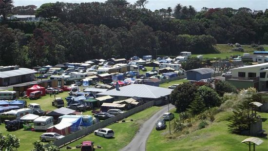 Opunake Beach Holiday Park: View of the campground at peak season