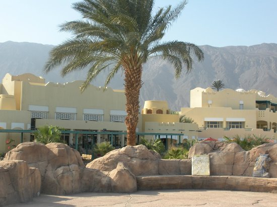 The Bayview Taba Heights Resort: View of hotel from pool with mountains in the background