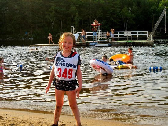 Long Lake Town Beach with a great swimming dock and beachside fun!