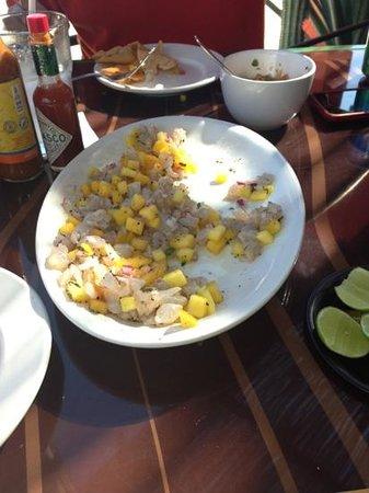 La Marea : ceviche camaron con mango