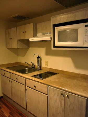 Suites Del Angel: Kitchenette with no cookware or coffee maker